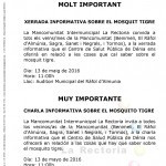 XERRADA INFORMATIVA MOSQUIT TIGRE / CHARLA INFORMATIVA MOSQUITO TIGRE
