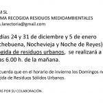 HORARIO NAVIDAD DE RECOGIDA DE RESIDUOS SÓLIDOS URBANOS