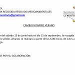 CAMBIO A HORARIO DE VERANO EN LA RECOGIDA DE RESIDUOS SÓLIDOS URBANOS