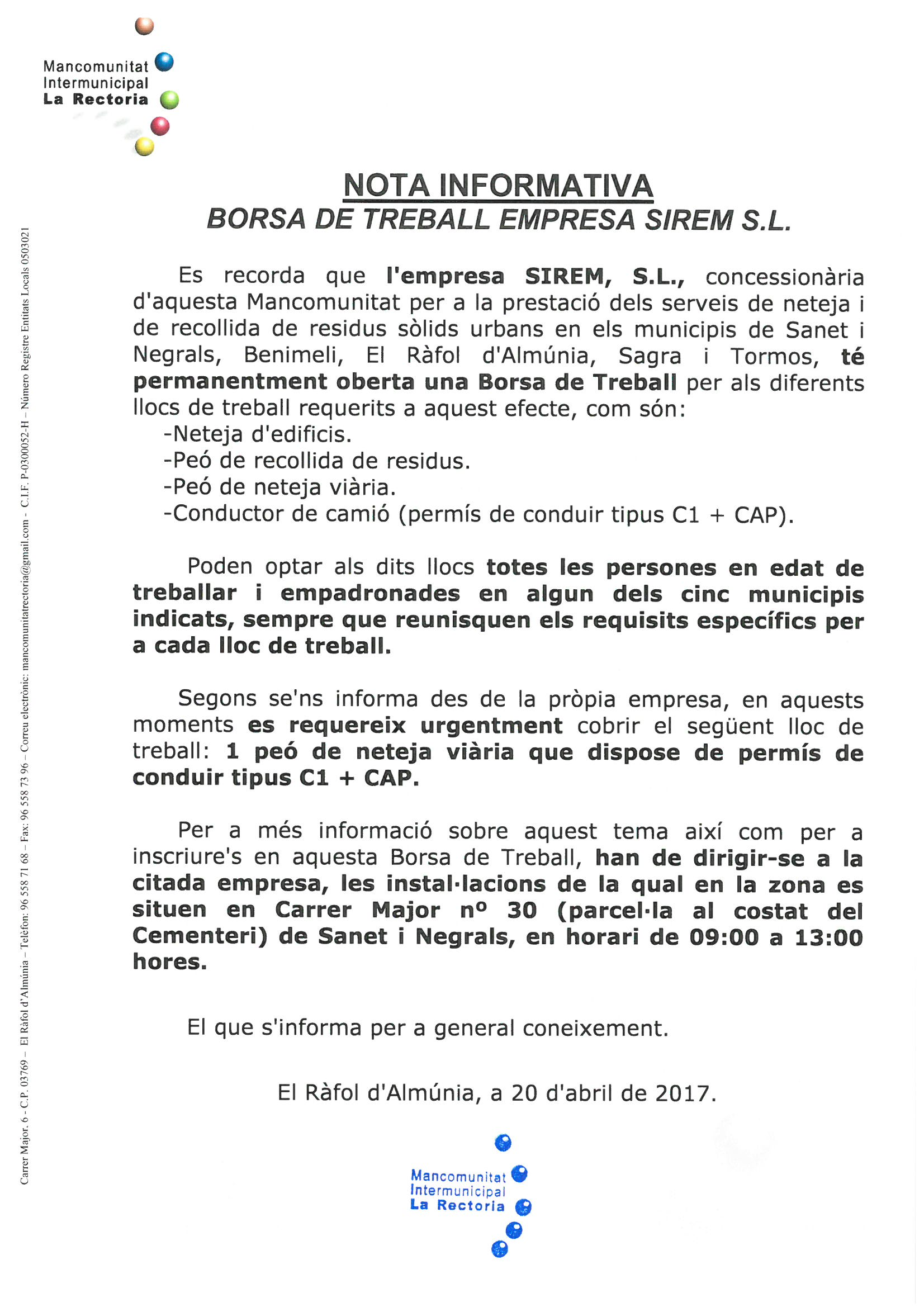 Nota Informativa – valencià