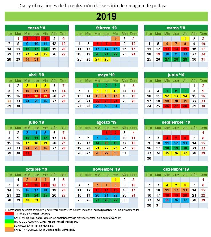 Sirem calendario 2019 PODAS